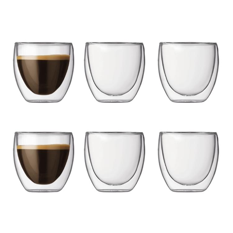 6 x PAVINA DOUBLE WALL GLASS, 8 cl BODUM