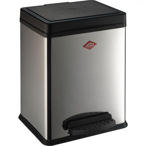 balde lixo pedal 380 2*10 ou 20 lts inox brilhante wesco