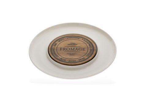 prato queijo porcelana com centro madeira evviva