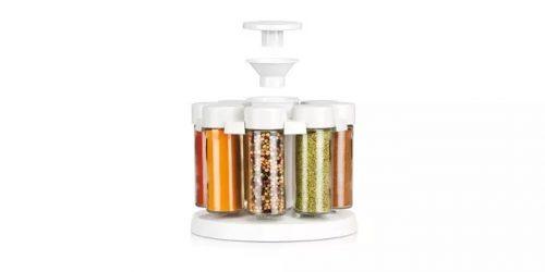 suporte rotativo com 8 frascos para especiarias tescoma