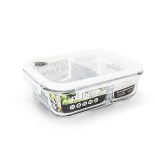 caixa vidro retangular para alimentos 2 divisões pebbly