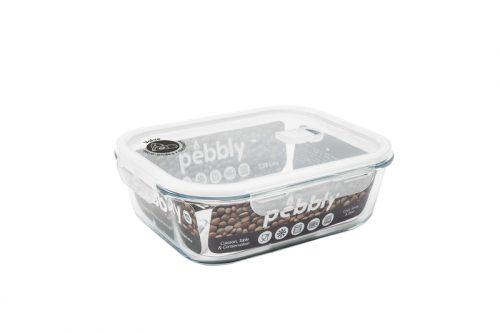 caixa vidro retangular para alimentos pebbly