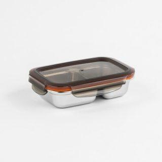 caixa retangular para alimentos com 2 divisões cuitisan